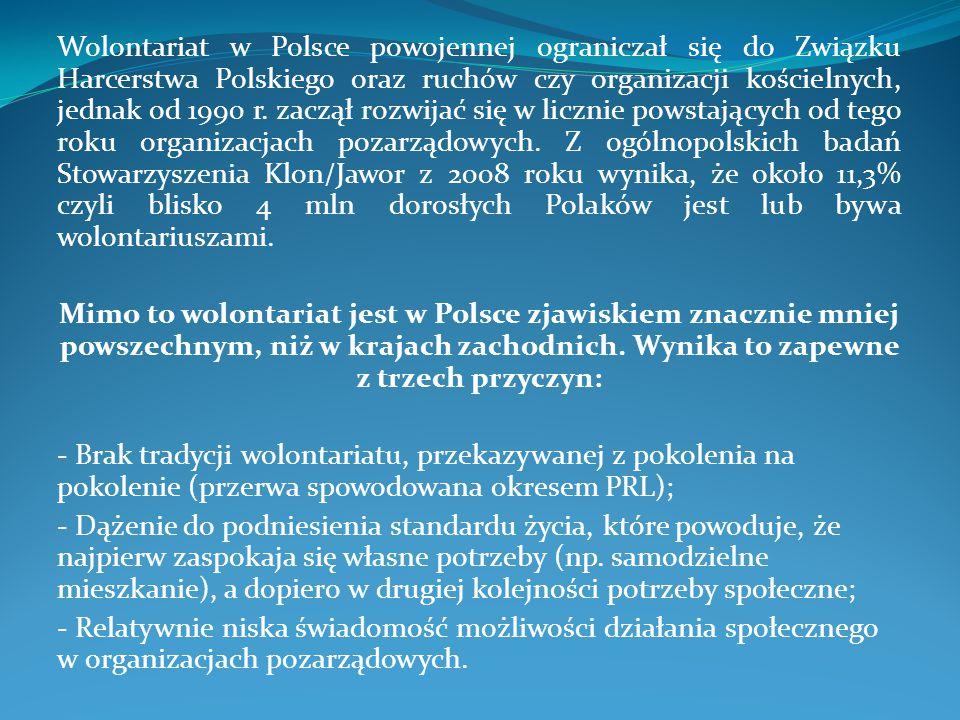 Wolontariat w Polsce powojennej ograniczał się do Związku Harcerstwa Polskiego oraz ruchów czy organizacji kościelnych, jednak od 1990 r.