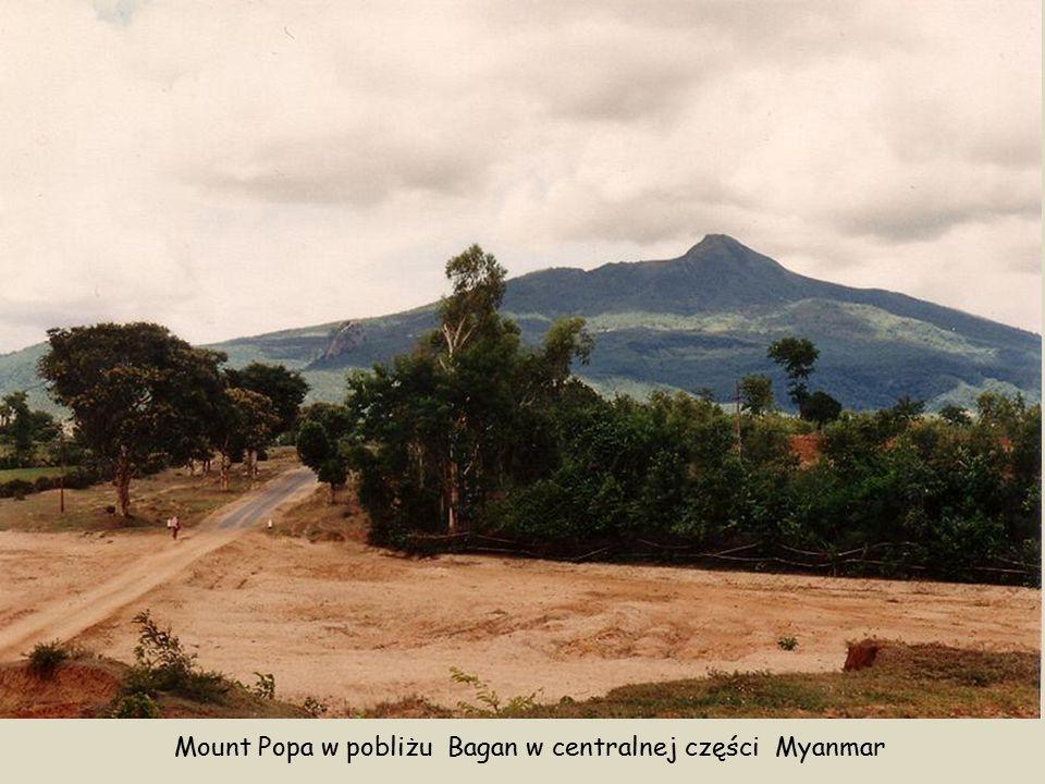 Mount Popa widziany z miejscowości Kyaukpadaung KlasztorTaung Kalat W centralnej części Birmy, w prowincji Mandalaj znajduje się wulkan Puppa (birm.