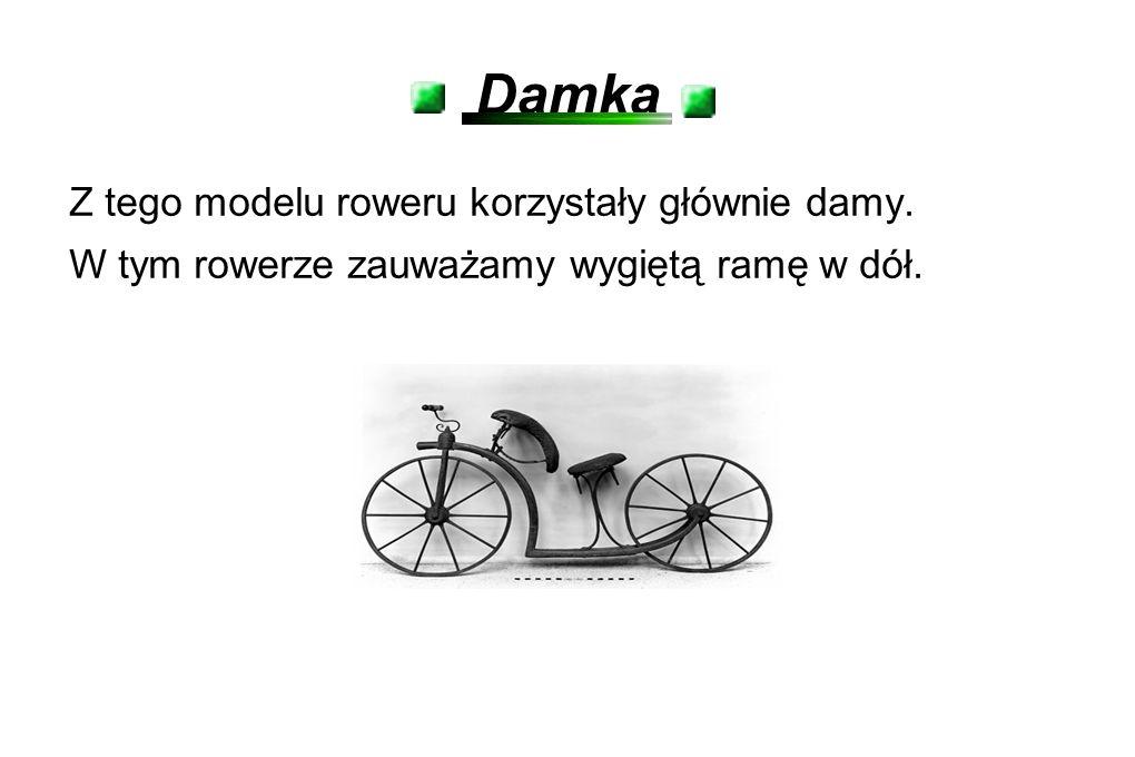 Damka Z tego modelu roweru korzystały głównie damy. W tym rowerze zauważamy wygiętą ramę w dół.