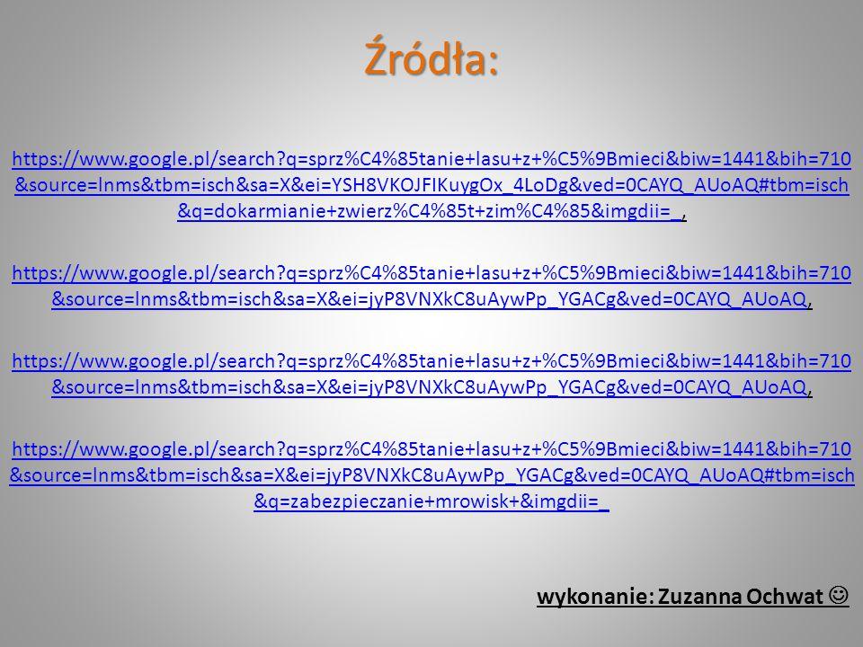 Źródła: https://www.google.pl/search?q=sprz%C4%85tanie+lasu+z+%C5%9Bmieci&biw=1441&bih=710 &source=lnms&tbm=isch&sa=X&ei=YSH8VKOJFIKuygOx_4LoDg&ved=0C