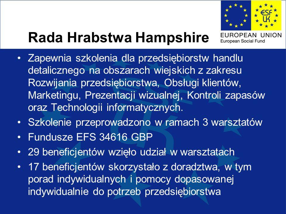 Rada Hrabstwa Hampshire Zapewnia szkolenia dla przedsiębiorstw handlu detalicznego na obszarach wiejskich z zakresu Rozwijania przedsiębiorstwa, Obsługi klientów, Marketingu, Prezentacji wizualnej, Kontroli zapasów oraz Technologii informatycznych.