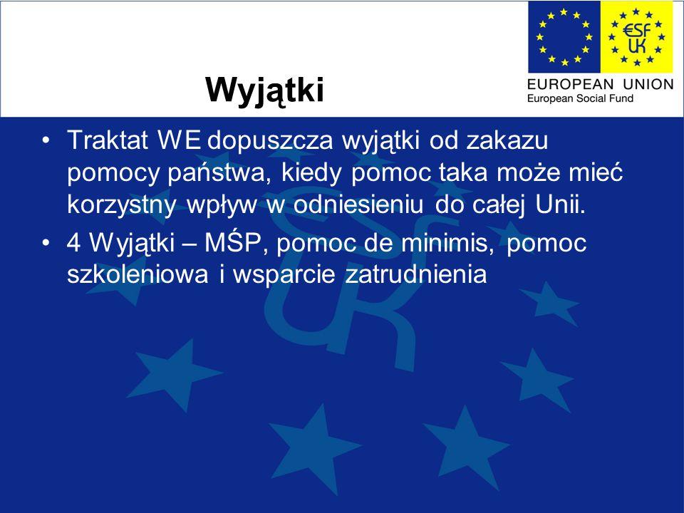 Wyjątki Traktat WE dopuszcza wyjątki od zakazu pomocy państwa, kiedy pomoc taka może mieć korzystny wpływ w odniesieniu do całej Unii.