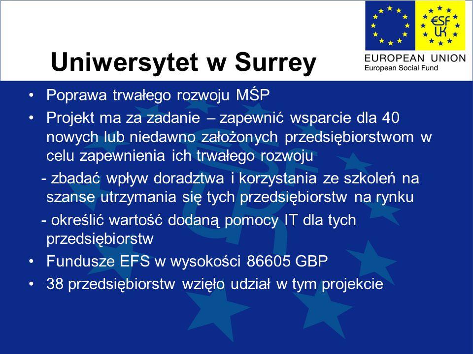 Uniwersytet w Surrey Poprawa trwałego rozwoju MŚP Projekt ma za zadanie – zapewnić wsparcie dla 40 nowych lub niedawno założonych przedsiębiorstwom w celu zapewnienia ich trwałego rozwoju - zbadać wpływ doradztwa i korzystania ze szkoleń na szanse utrzymania się tych przedsiębiorstw na rynku - określić wartość dodaną pomocy IT dla tych przedsiębiorstw Fundusze EFS w wysokości 86605 GBP 38 przedsiębiorstw wzięło udział w tym projekcie
