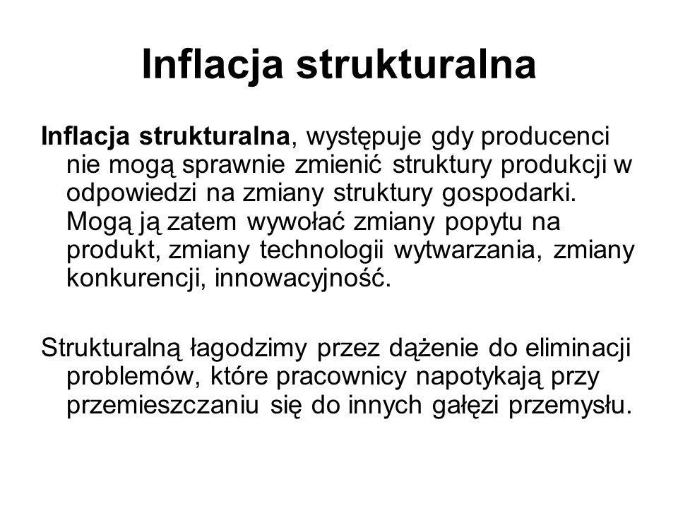 Inflacja strukturalna Inflacja strukturalna, występuje gdy producenci nie mogą sprawnie zmienić struktury produkcji w odpowiedzi na zmiany struktury g