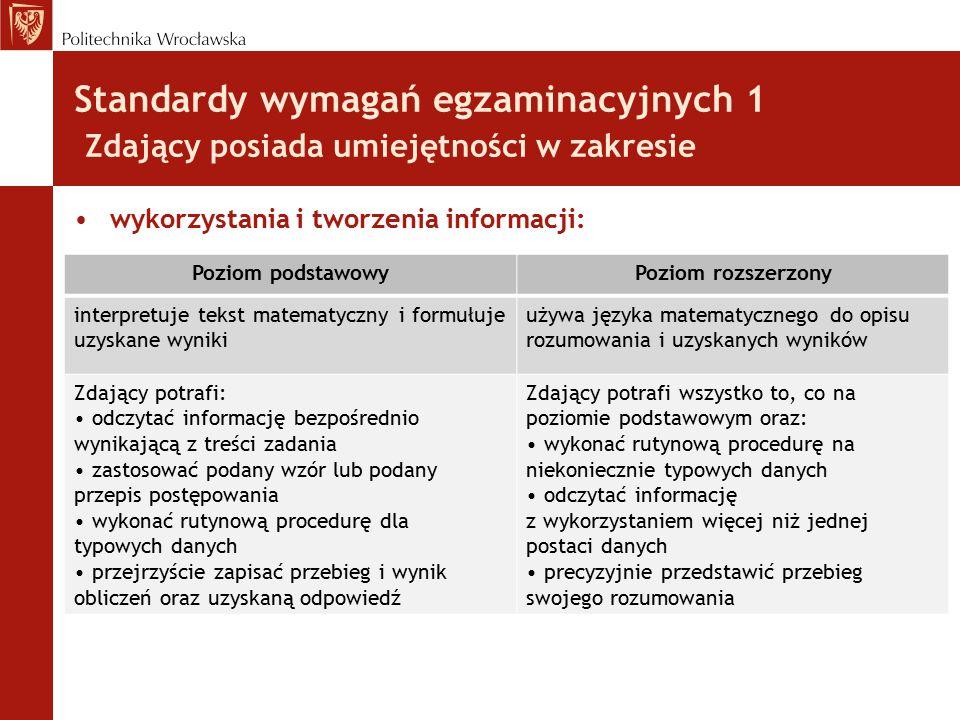 Standardy wymagań egzaminacyjnych 1 Zdający posiada umiejętności w zakresie wykorzystania i tworzenia informacji: Poziom podstawowyPoziom rozszerzony