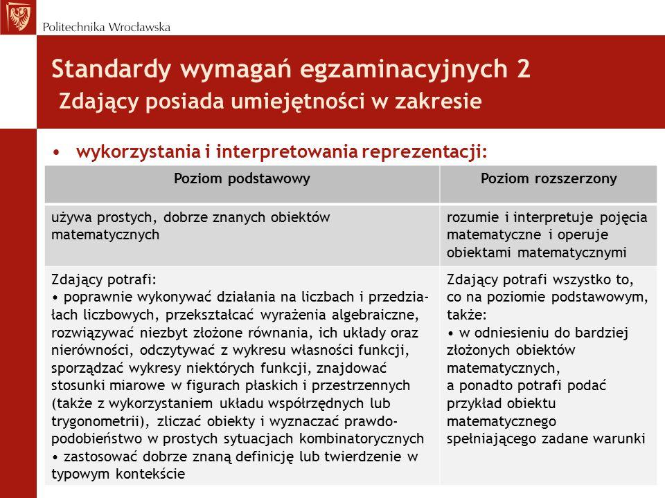 Standardy wymagań egzaminacyjnych 2 Zdający posiada umiejętności w zakresie wykorzystania i interpretowania reprezentacji: Poziom podstawowyPoziom roz