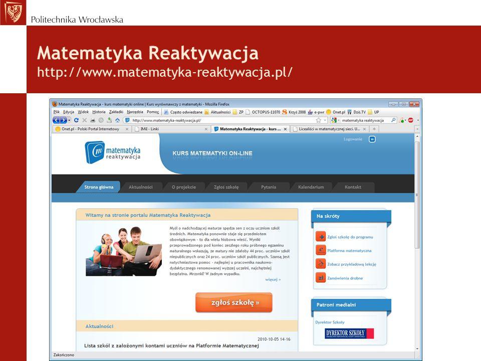 Matematyka Reaktywacja http://www.matematyka-reaktywacja.pl/