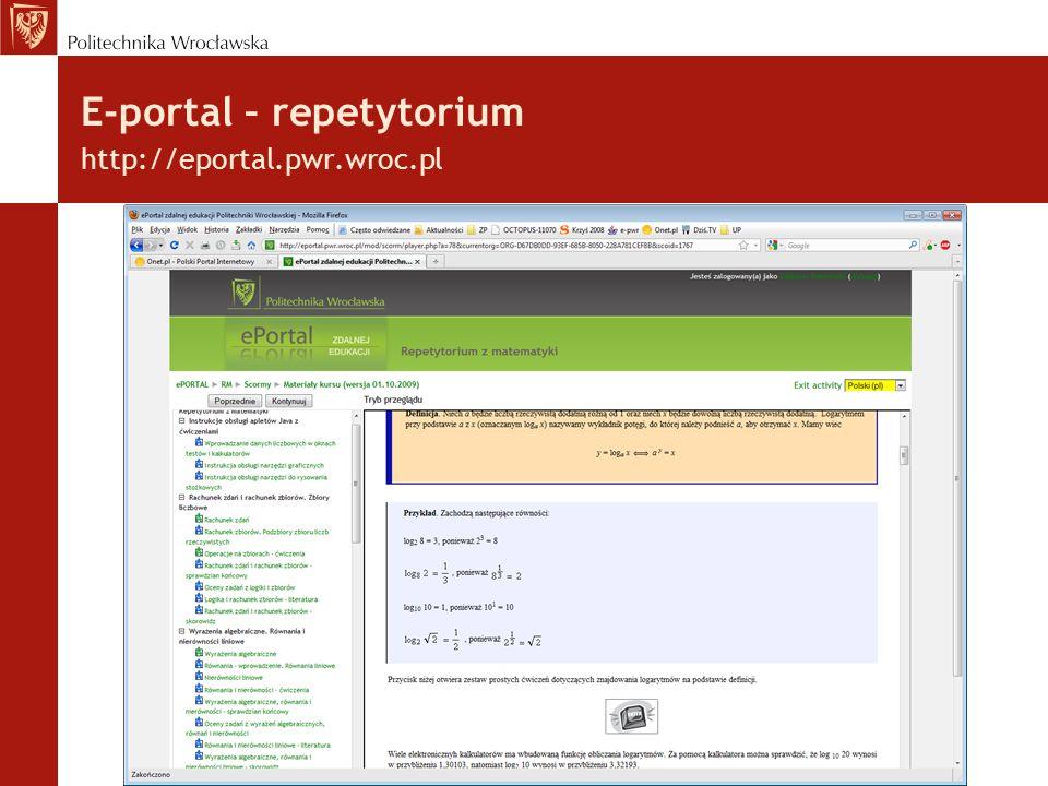 E-portal – repetytorium http://eportal.pwr.wroc.pl /