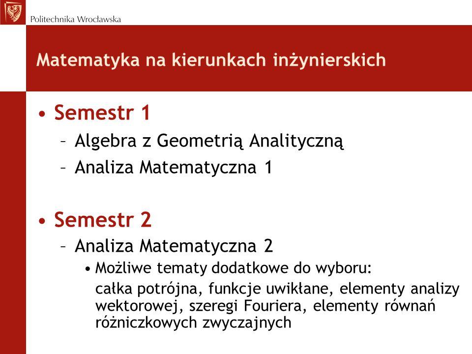 Matematyka na kierunkach inżynierskich Semestr 1 –Algebra z Geometrią Analityczną –Analiza Matematyczna 1 Semestr 2 –Analiza Matematyczna 2 Możliwe tematy dodatkowe do wyboru: całka potrójna, funkcje uwikłane, elementy analizy wektorowej, szeregi Fouriera, elementy równań różniczkowych zwyczajnych
