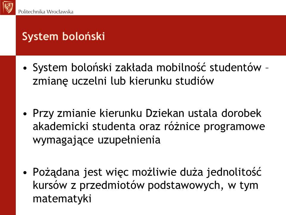 System boloński System boloński zakłada mobilność studentów – zmianę uczelni lub kierunku studiów Przy zmianie kierunku Dziekan ustala dorobek akademicki studenta oraz różnice programowe wymagające uzupełnienia Pożądana jest więc możliwie duża jednolitość kursów z przedmiotów podstawowych, w tym matematyki