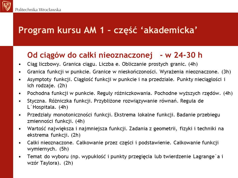 Program kursu AM 1 – część 'akademicka' Od ciągów do całki nieoznaczonej - w 24-30 h Ciąg liczbowy.