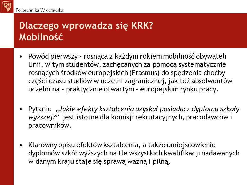 Dlaczego wprowadza się KRK? Mobilność Powód pierwszy - rosnąca z każdym rokiem mobilność obywateli Unii, w tym studentów, zachęcanych za pomocą system