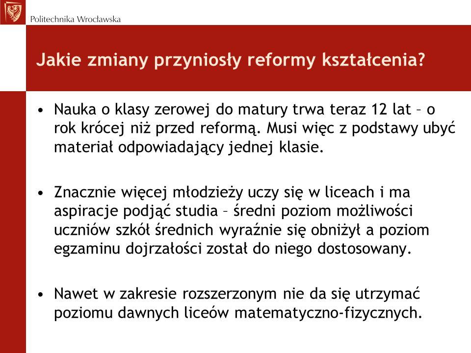 Jakie zmiany przyniosły reformy kształcenia.