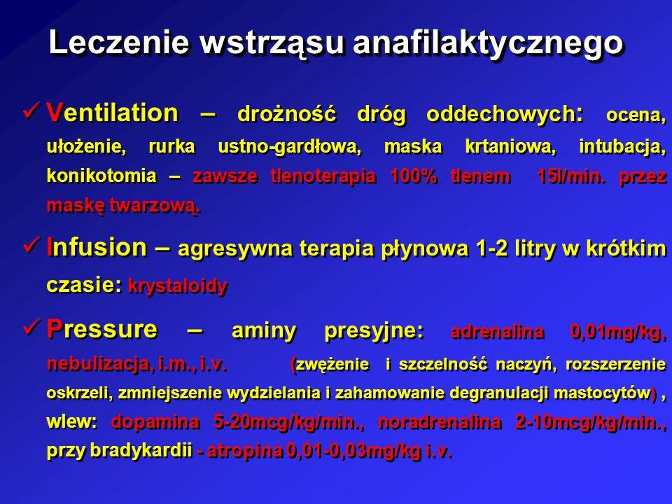 Leczenie wstrząsu anafilaktycznego Ventilation – drożność dróg oddechowych : ocena, ułożenie, rurka ustno-gardłowa, maska krtaniowa, intubacja, koniko