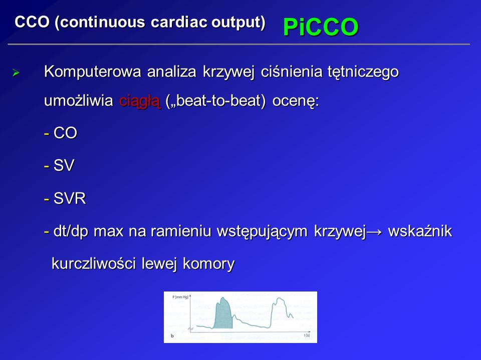 """PiCCO  Komputerowa analiza krzywej ciśnienia tętniczego umożliwia ciągłą (""""beat-to-beat) ocenę: - CO - SV - SVR - dt/dp max na ramieniu wstępującym k"""