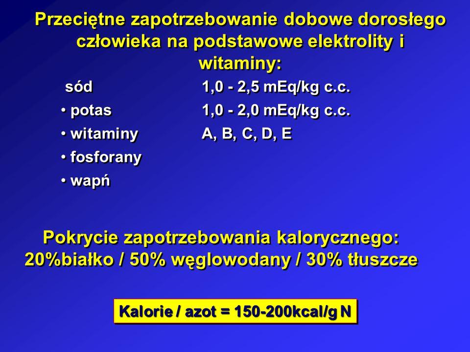 Przeciętne zapotrzebowanie dobowe dorosłego człowieka na podstawowe elektrolity i witaminy: sód1,0 - 2,5 mEq/kg c.c. potas1,0 - 2,0 mEq/kg c.c. witami
