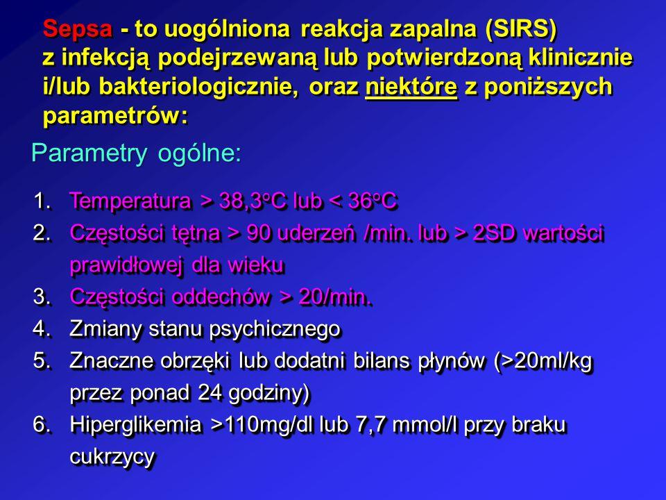 Sepsa - to uogólniona reakcja zapalna (SIRS) z infekcją podejrzewaną lub potwierdzoną klinicznie i/lub bakteriologicznie, oraz niektóre z poniższych p