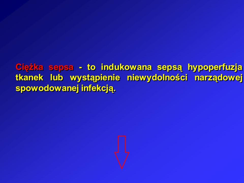 Ciężka sepsa - to indukowana sepsą hypoperfuzja tkanek lub wystąpienie niewydolności narządowej spowodowanej infekcją.