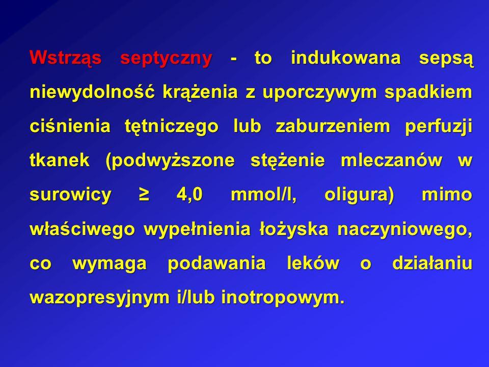 Wstrząs septyczny - to indukowana sepsą niewydolność krążenia z uporczywym spadkiem ciśnienia tętniczego lub zaburzeniem perfuzji tkanek (podwyższone