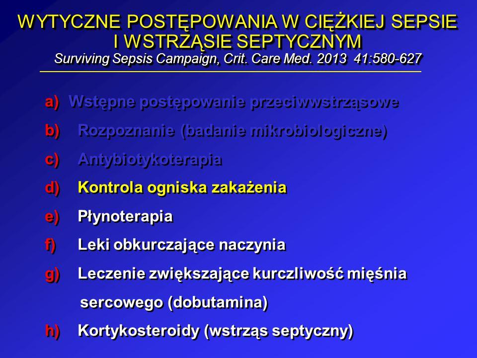 WYTYCZNE POSTĘPOWANIA W CIĘŻKIEJ SEPSIE I WSTRZĄSIE SEPTYCZNYM Surviving Sepsis Campaign, Crit. Care Med. 2013 41:580-627 a)Wstępne postępowanie przec