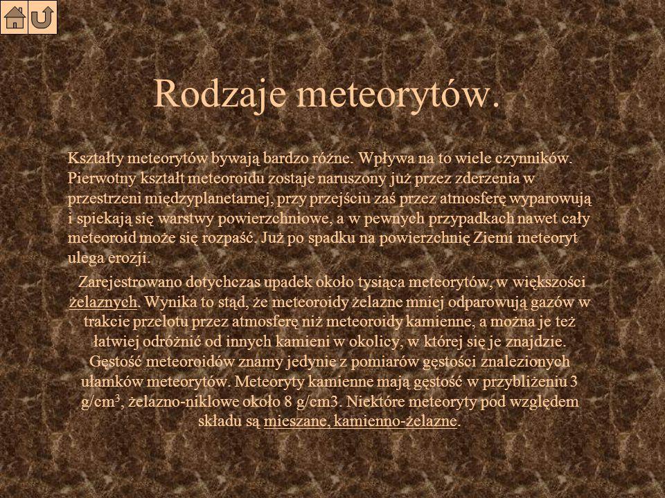 Meteoryt Pozostałości meteoroidów docierające do powierzchni Ziemi nazywamy meteorytami.