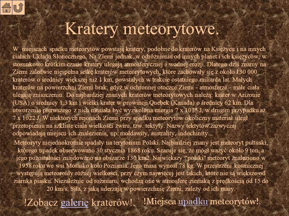Rodzaje meteorytów. Kształty meteorytów bywają bardzo różne.