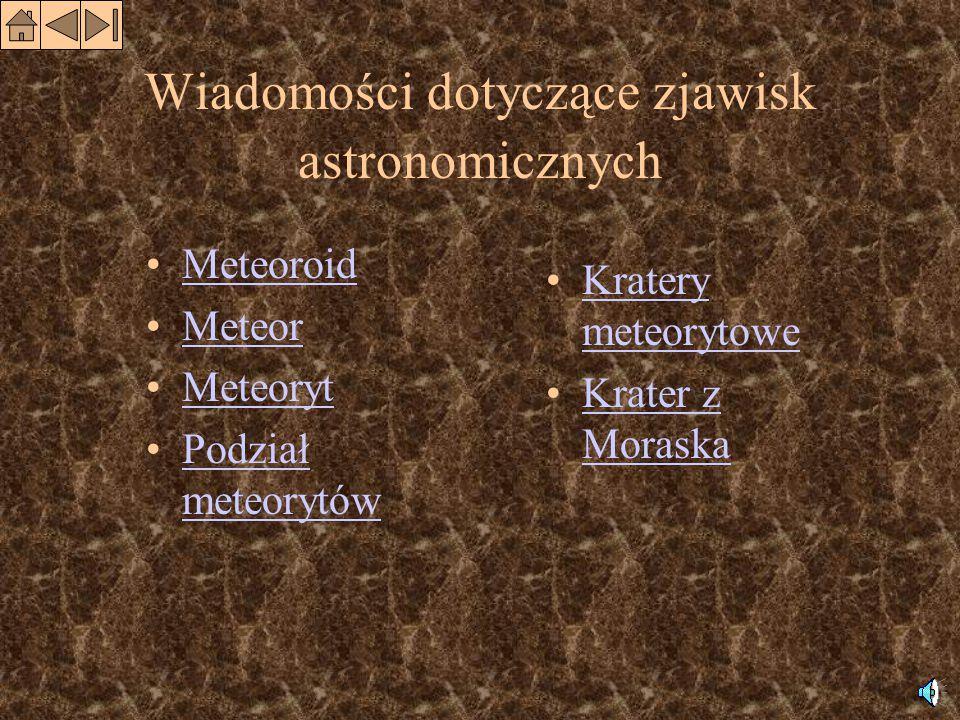 Nazwa Okres widoczności Maksimum Największa zaobserwowana liczba meteorów na godzinę Macierzysta kometa Kwadrantydy1.01-4.013.01110nieznana Lirydy12.04-24.0422.0440Thatcher Akwarydy Majowe 29.04-21.055.05120Halley Akwarydy Lipcowe 25.07-10.083.0840nieznana Perseidy20.07-19.0811.08300Swift-Tuttle Orionidy11.10-30.1019.1050Halley Leonidy14.11-20.1116.11144 000Tempel-Tuttle Geminidy5.12-19.1212.1250nieznana