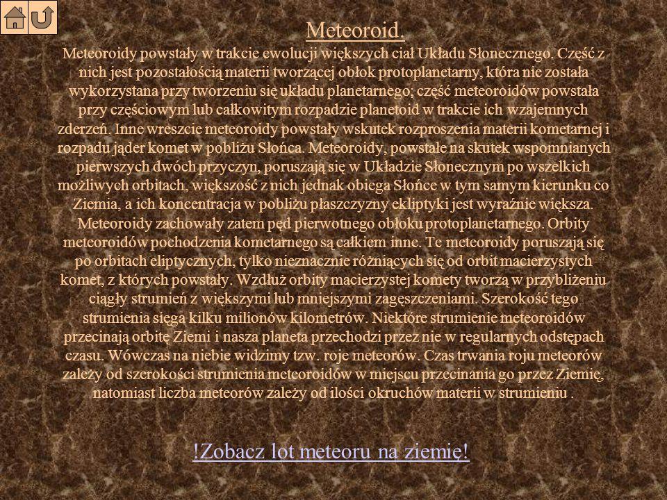 Wiadomości dotyczące zjawisk astronomicznych Meteoroid Meteor Meteoryt Podział meteorytówPodział meteorytów Kratery meteorytoweKratery meteorytowe Krater z MoraskaKrater z Moraska
