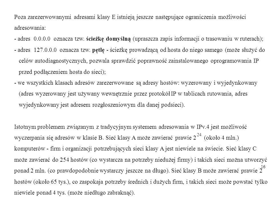 Poza zarezerwowanymi adresami klasy E istnieją jeszcze następujące ograniczenia możliwości adresowania: - adres 0.0.0.0 oznacza tzw.