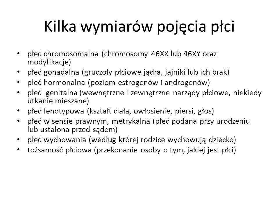 Kilka wymiarów pojęcia płci płeć chromosomalna (chromosomy 46XX lub 46XY oraz modyfikacje) płeć gonadalna (gruczoły płciowe jądra, jajniki lub ich bra