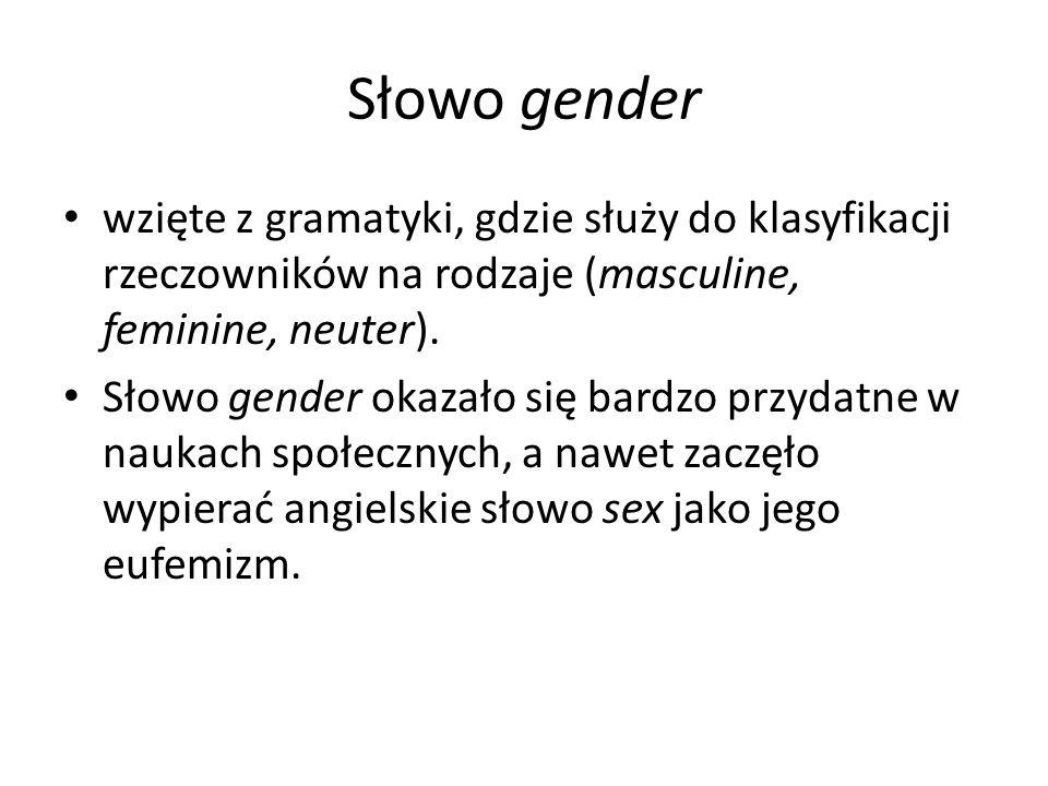 Słowo gender wzięte z gramatyki, gdzie służy do klasyfikacji rzeczowników na rodzaje (masculine, feminine, neuter). Słowo gender okazało się bardzo pr