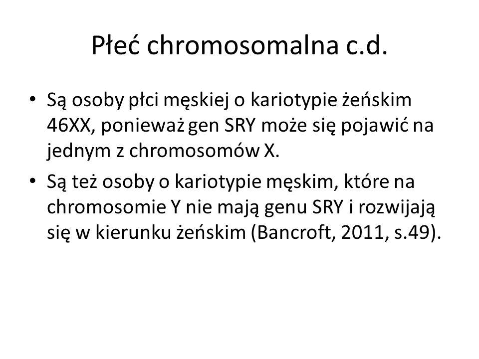 Płeć chromosomalna c.d. Są osoby płci męskiej o kariotypie żeńskim 46XX, ponieważ gen SRY może się pojawić na jednym z chromosomów X. Są też osoby o k