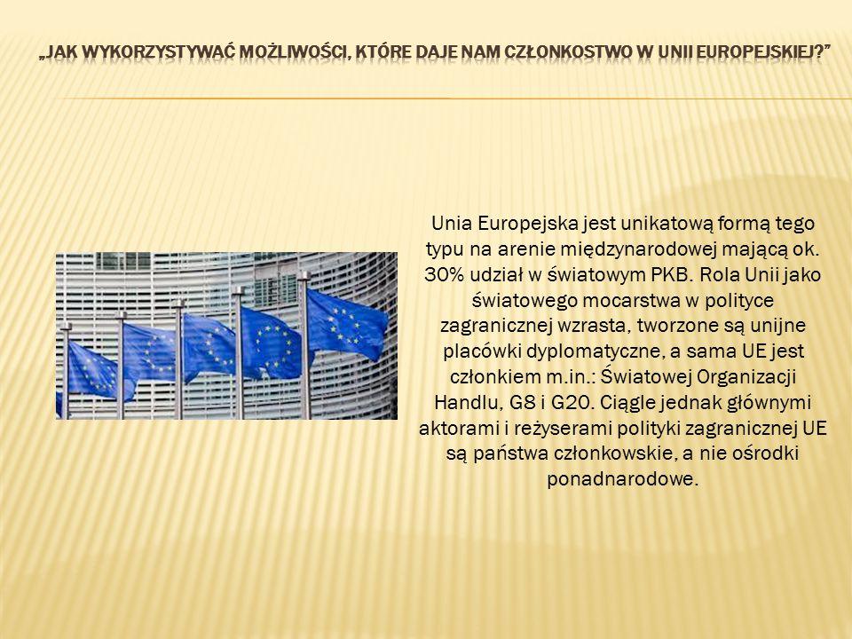 Unia Europejska jest unikatową formą tego typu na arenie międzynarodowej mającą ok. 30% udział w światowym PKB. Rola Unii jako światowego mocarstwa w