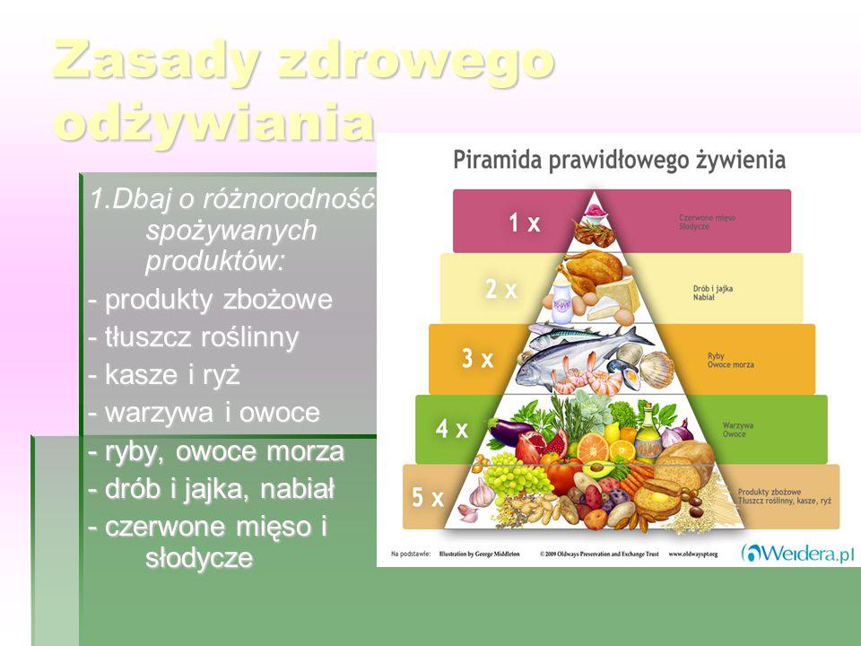 Zasady zdrowego odżywiania 1.Dbaj o różnorodność spożywanych produktów: - produkty zbożowe - tłuszcz roślinny - kasze i ryż - warzywa i owoce - ryby, owoce morza - drób i jajka, nabiał - czerwone mięso i słodycze