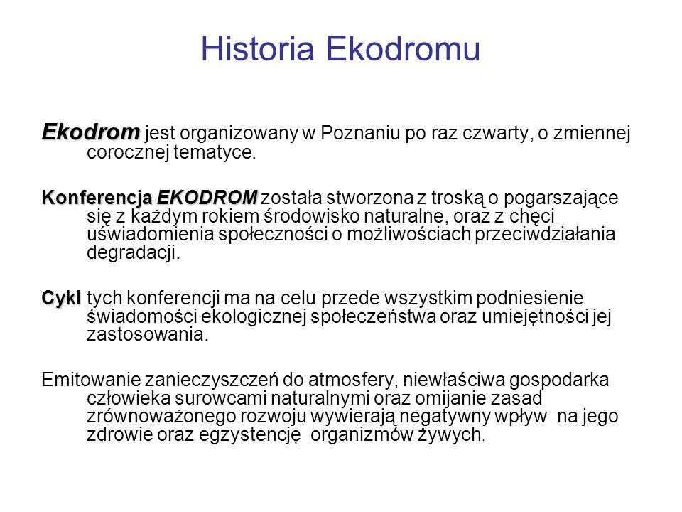Historia Ekodromu Ekodrom Ekodrom jest organizowany w Poznaniu po raz czwarty, o zmiennej corocznej tematyce.