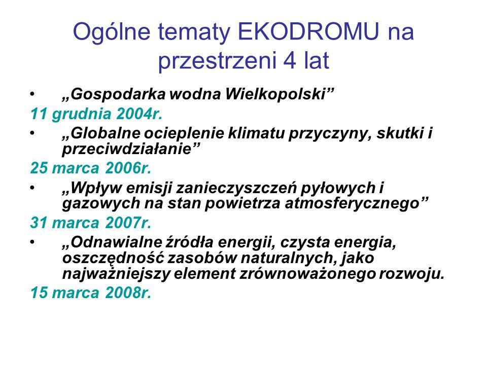 """Ogólne tematy EKODROMU na przestrzeni 4 lat """"Gospodarka wodna Wielkopolski 11 grudnia 2004r."""