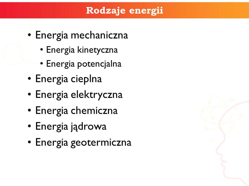 Rodzaje energii Energia mechaniczna Energia kinetyczna Energia potencjalna Energia cieplna Energia elektryczna Energia chemiczna Energia jądrowa Energ