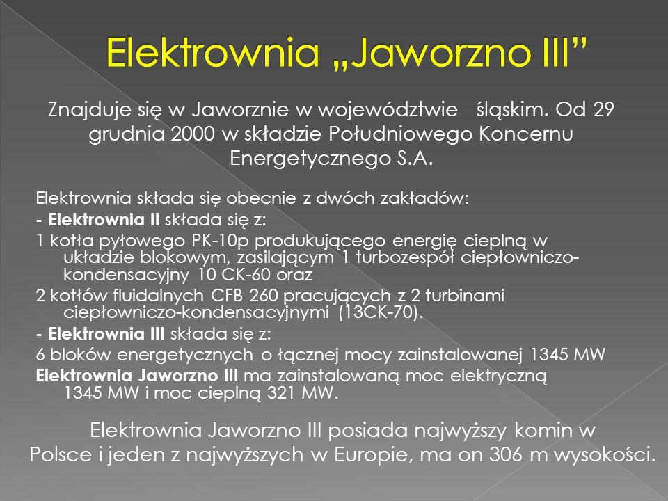 Elektrownia składa się obecnie z dwóch zakładów: - Elektrownia II składa się z: 1 kotła pyłowego PK-10p produkującego energię cieplną w układzie bloko