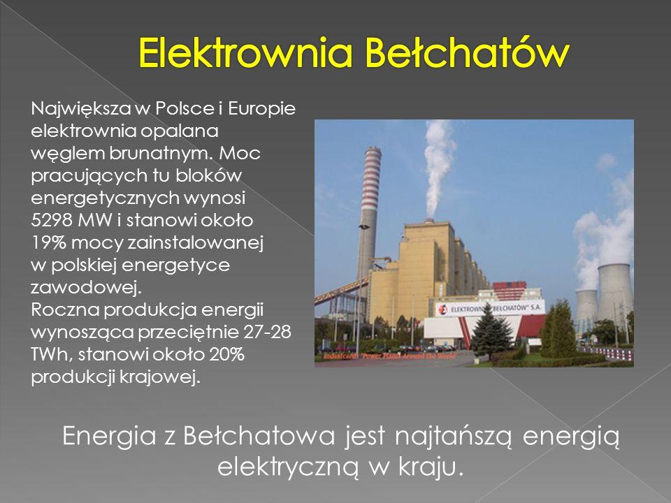 Największa w Polsce i Europie elektrownia opalana węglem brunatnym. Moc pracujących tu bloków energetycznych wynosi 5298 MW i stanowi około 19% mocy z