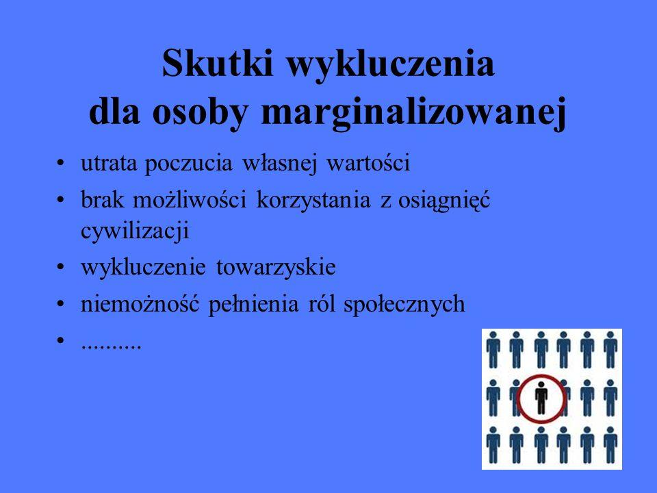 Skutki wykluczenia dla reszty społeczeństwa utrata niektórych członków społeczeństwa straty ekonomiczne poczucie zagrożenia (w przypadku uzależnień) rozwarstwienie społeczne.....