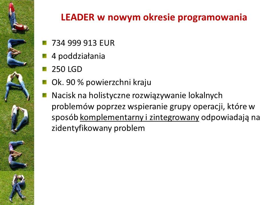 LEADER w nowym okresie programowania 734 999 913 EUR 4 poddziałania 250 LGD Ok.