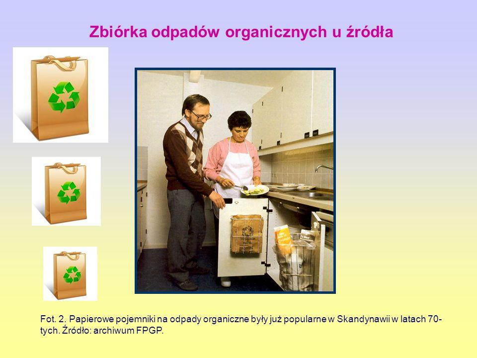 Fot. 2. Papierowe pojemniki na odpady organiczne były już popularne w Skandynawii w latach 70- tych. Źródło: archiwum FPGP. Zbiórka odpadów organiczny