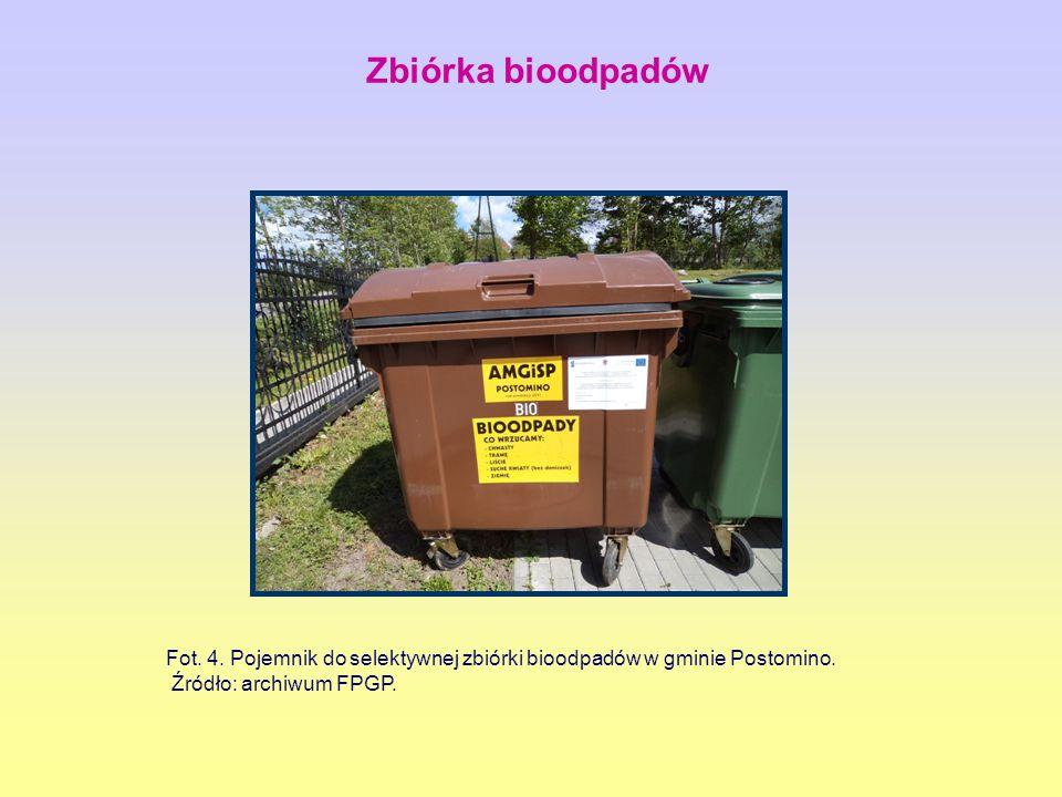 Fot. 4. Pojemnik do selektywnej zbiórki bioodpadów w gminie Postomino. Źródło: archiwum FPGP. Zbiórka bioodpadów