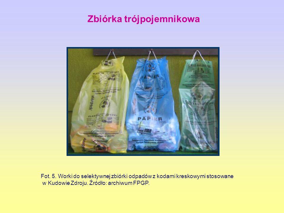 Fot.5. Worki do selektywnej zbiórki odpadów z kodami kreskowymi stosowane w Kudowie Zdroju.