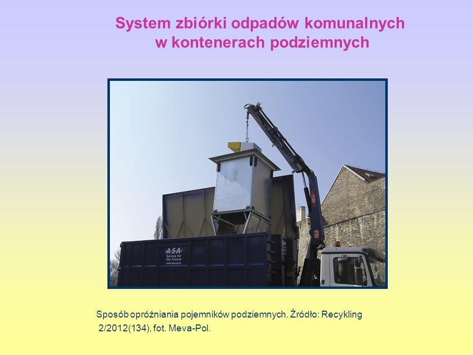 Sposób opróżniania pojemników podziemnych. Źródło: Recykling 2/2012(134), fot. Meva-Pol. System zbiórki odpadów komunalnych w kontenerach podziemnych