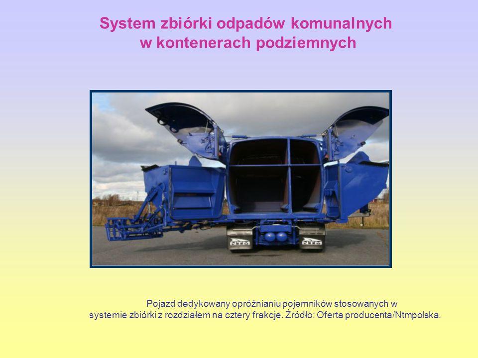 Pojazd dedykowany opróżnianiu pojemników stosowanych w systemie zbiórki z rozdziałem na cztery frakcje.