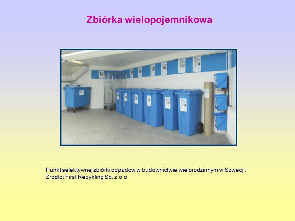 Punkt selektywnej zbiórki odpadów w budownictwie wielorodzinnym w Szwecji. Źródło: First Recykling Sp. z o.o. Zbiórka wielopojemnikowa