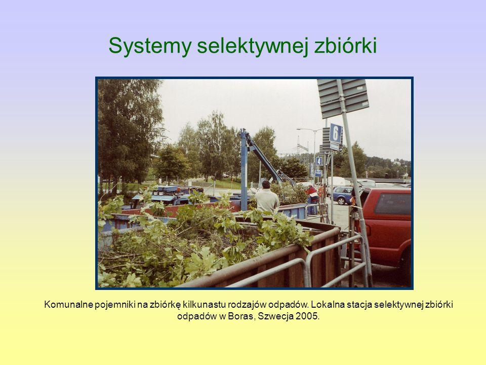 Komunalne pojemniki na zbiórkę kilkunastu rodzajów odpadów. Lokalna stacja selektywnej zbiórki odpadów w Boras, Szwecja 2005. Systemy selektywnej zbió