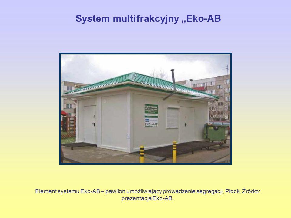 """Element systemu Eko-AB – pawilon umożliwiający prowadzenie segregacji, Płock. Źródło: prezentacja Eko-AB. System multifrakcyjny """"Eko-AB"""