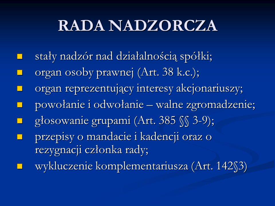 RADA NADZORCZA stały nadzór nad działalnością spółki; stały nadzór nad działalnością spółki; organ osoby prawnej (Art. 38 k.c.); organ osoby prawnej (
